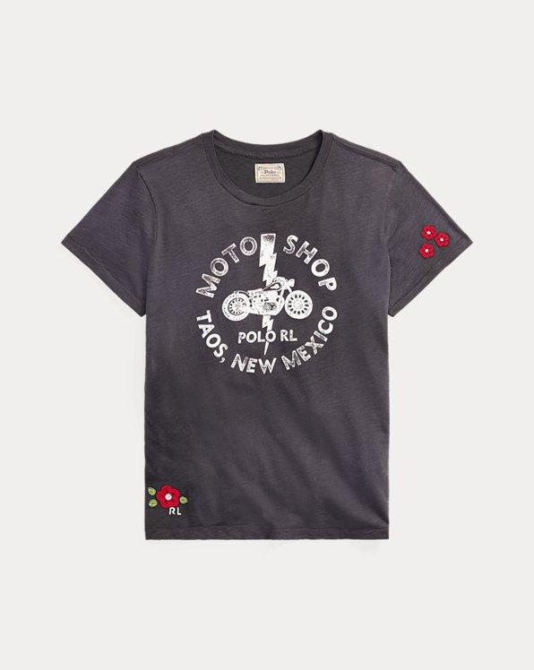Jersey-T-Shirt im Biker-Stil