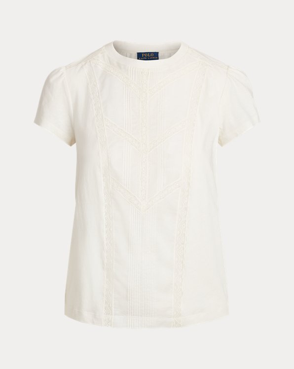 Maglietta cotone rifinita in pizzo