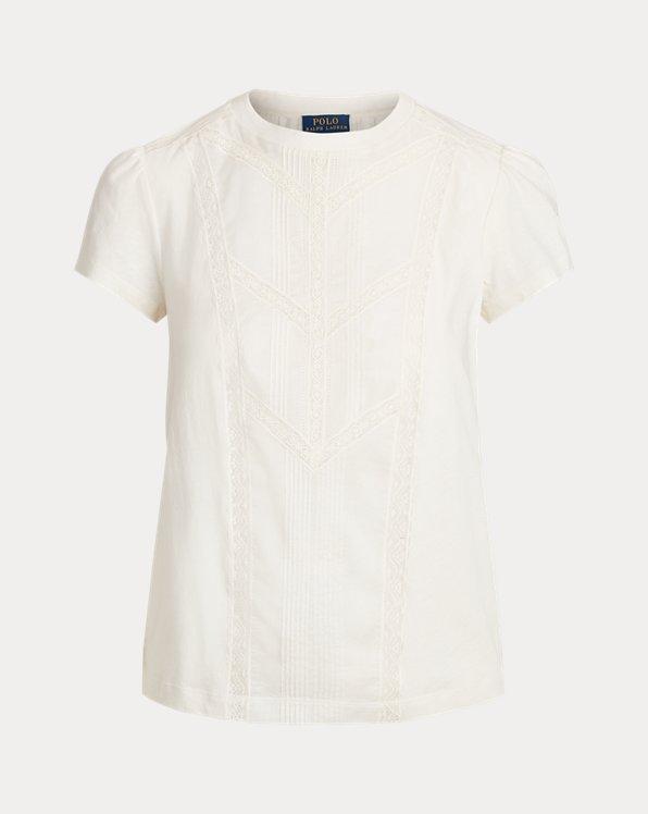 Baumwoll-T-Shirt mit Spitzensaum
