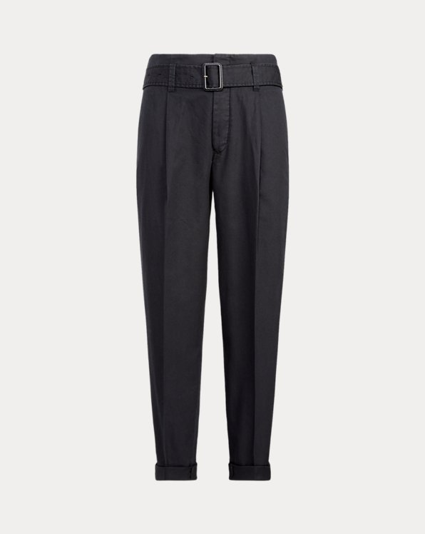 Twill Belted Trousers