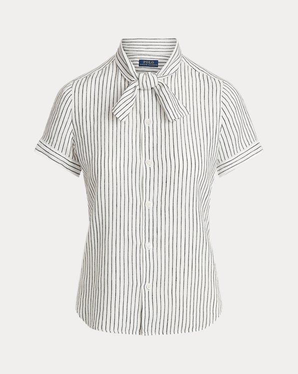 Linen Tie-Neck Shirt