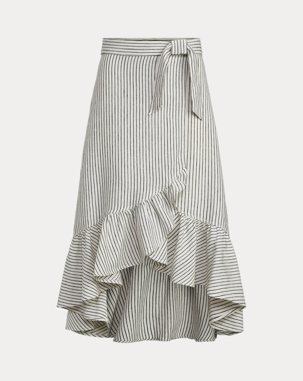 Striped Linen Wrap Skirt