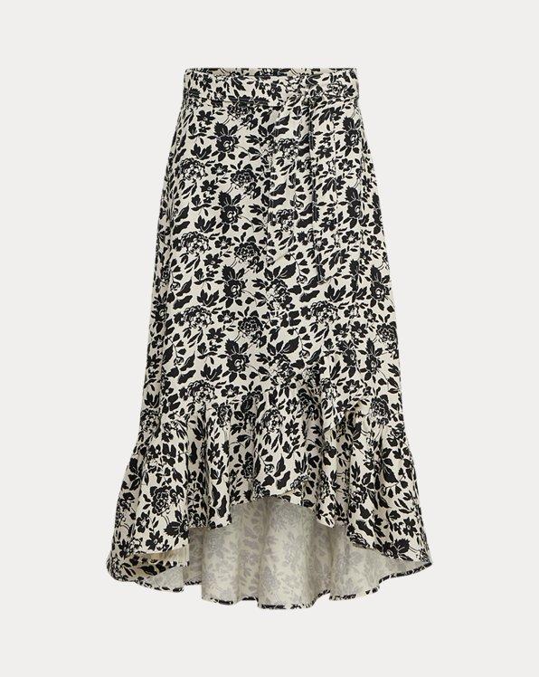 Floral Linen Wrap Skirt