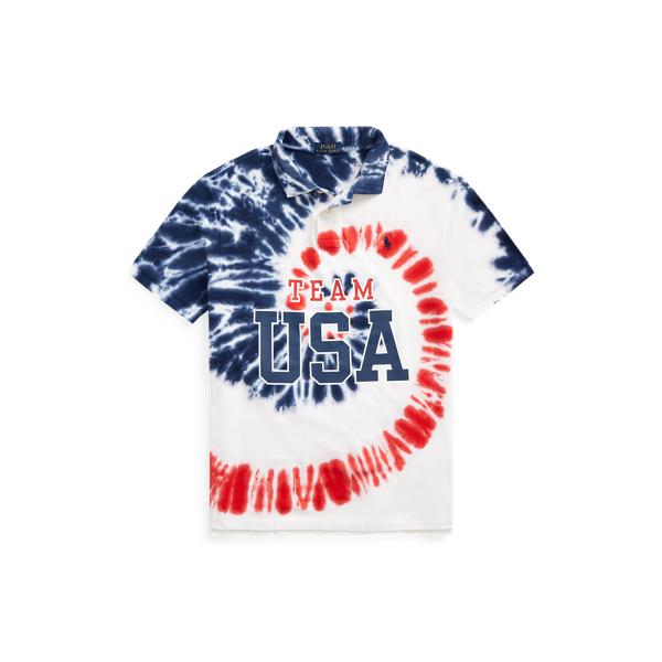 Ralph Lauren Team Usa Tie-dye Mesh Polo Shirt In Multi