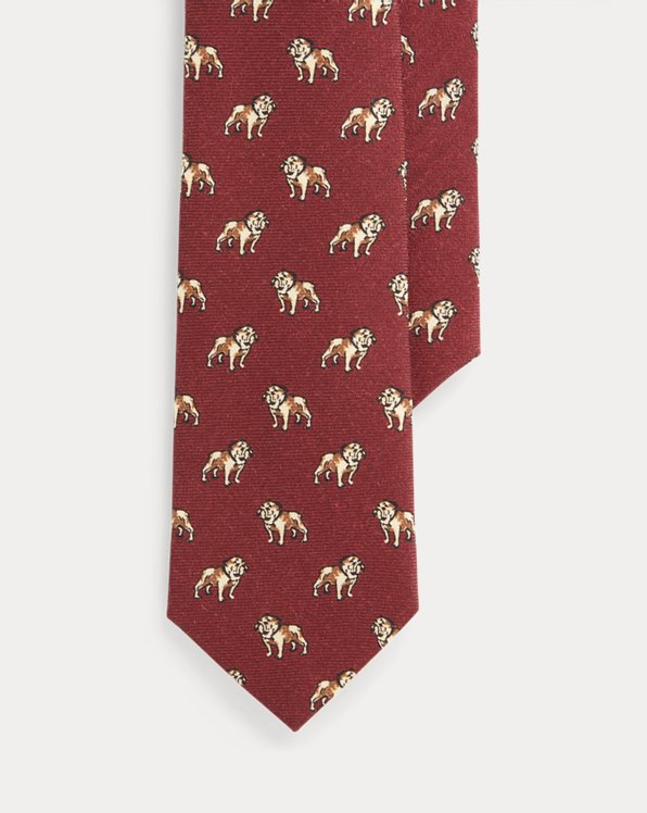 Dog-Print Wool Narrow Tie