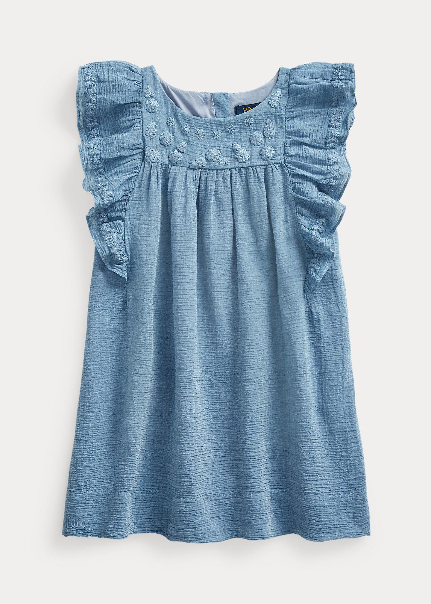 Polo Ralph Lauren Embroidered Cotton Blend Dress