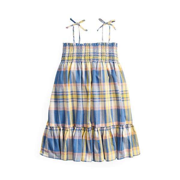 폴로 랄프로렌 여아용 마드라스 원피스 Polo Ralph Lauren Smocked Cotton Madras Dress,Blue Yellow Multi