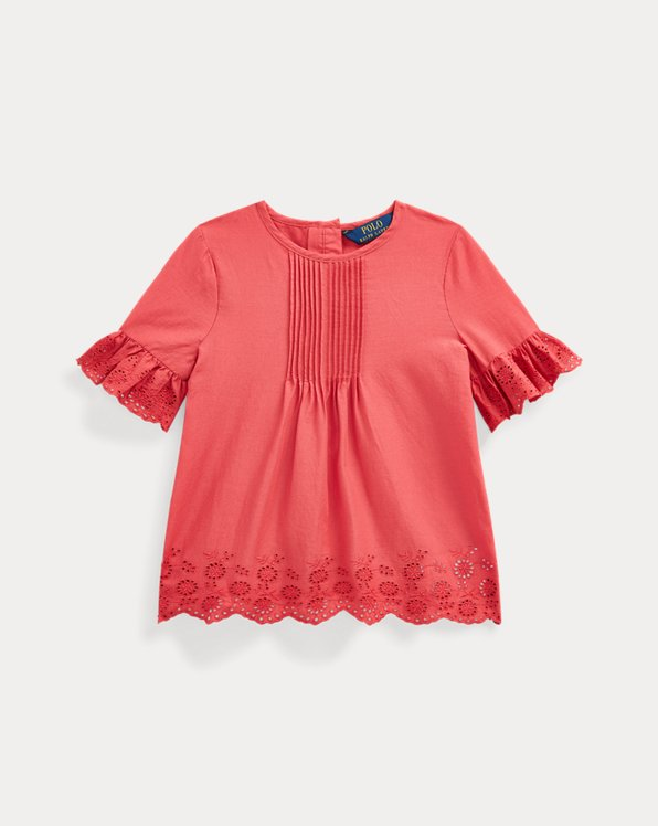 Eyelet Pintucked Cotton Top