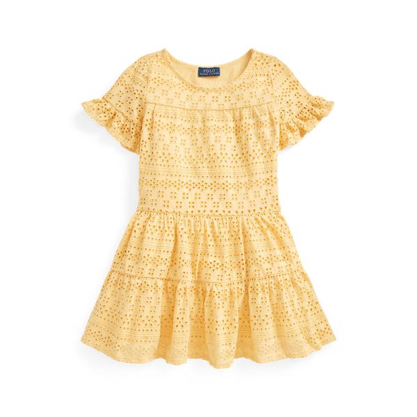 폴로 랄프로렌 여아용 원피스 Polo Ralph Lauren Eyelet Cotton Jersey Dress,Fall Yellow