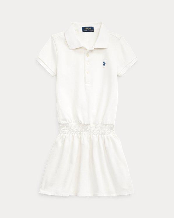 Smocked Mesh Polo Dress