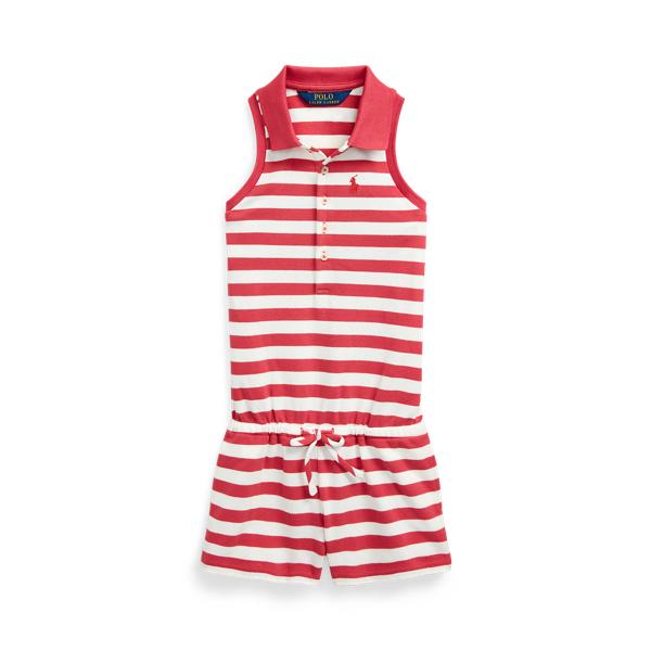 폴로 랄프로렌 Polo Ralph Lauren Striped Mesh Polo Romper,Nantucket Red Multi