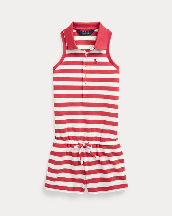 Striped Mesh Polo Romper