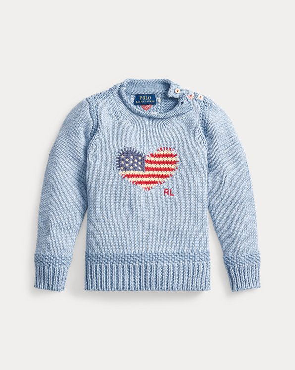 Flag-Heart Cotton Jumper
