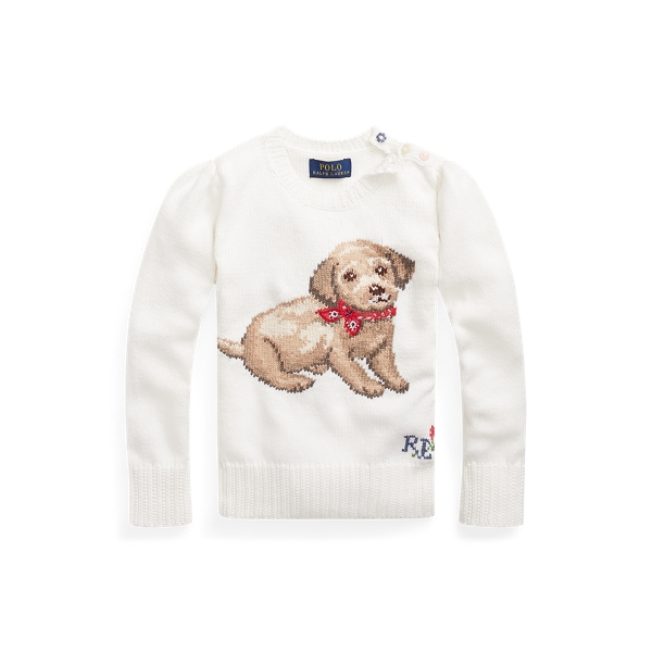 폴로 랄프로렌 여아용 스웨터 Polo Ralph Lauren Dog Cotton Sweater,Trophy Cream