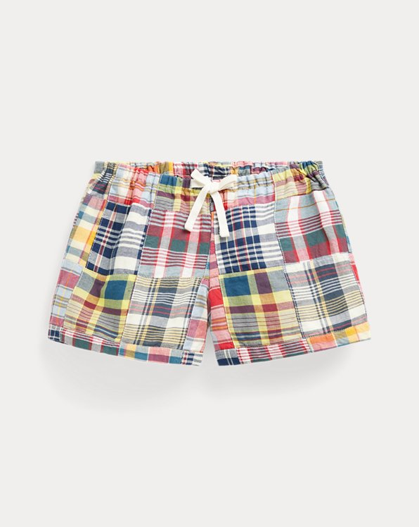 폴로 랄프로렌 Polo Ralph Lauren Patchwork Cotton Madras Short,Red