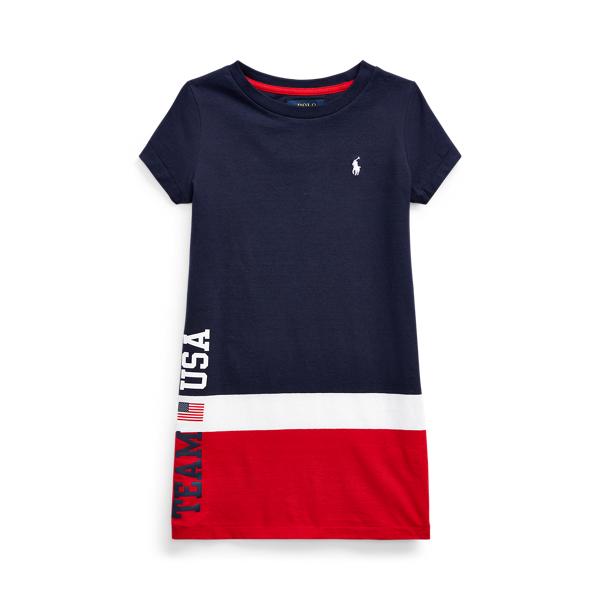 Polo Ralph Lauren Kids' Team Usa Cotton Jersey Tee Dress In Blue
