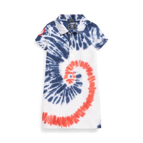 Polo Ralph Lauren Kids' Team Usa Tie-dye Mesh Polo Dress In Blue
