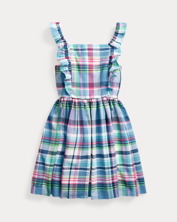 폴로 랄프로렌 Polo Ralph Lauren Ruffled Cotton Madras Dress,Blue Plaid