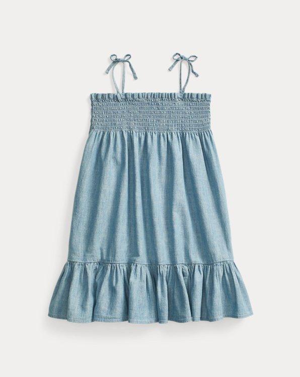 Smocked Cotton Chambray Dress