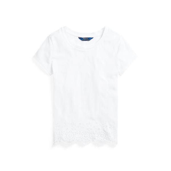 폴로 랄프로렌 걸즈 아일릿 햄 코튼 저지 탑 Polo Ralph Lauren Eyelet Hem Cotton Jersey Top,White