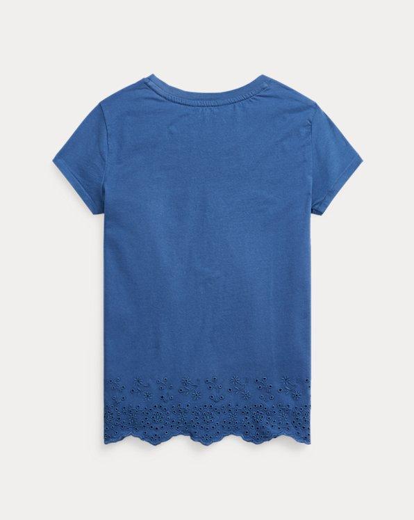 Eyelet-Hem Cotton Jersey Top
