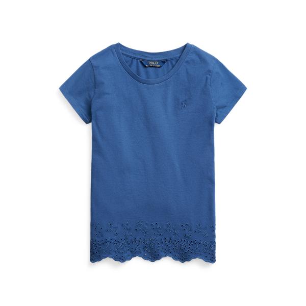 폴로 랄프로렌 걸즈 아일릿 햄 코튼 저지 탑 Polo Ralph Lauren Eyelet Hem Cotton Jersey Top,Federal Blue