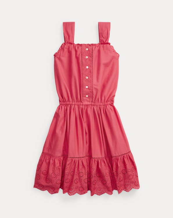 폴로 랄프로렌 Polo Ralph Lauren Ruffled Eyelet Cotton Dress,Nantucket Red