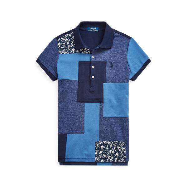 폴로 랄프로렌 걸즈 폴로 셔츠 Polo Ralph Lauren Patched Cotton Mesh Polo,Navy Multi