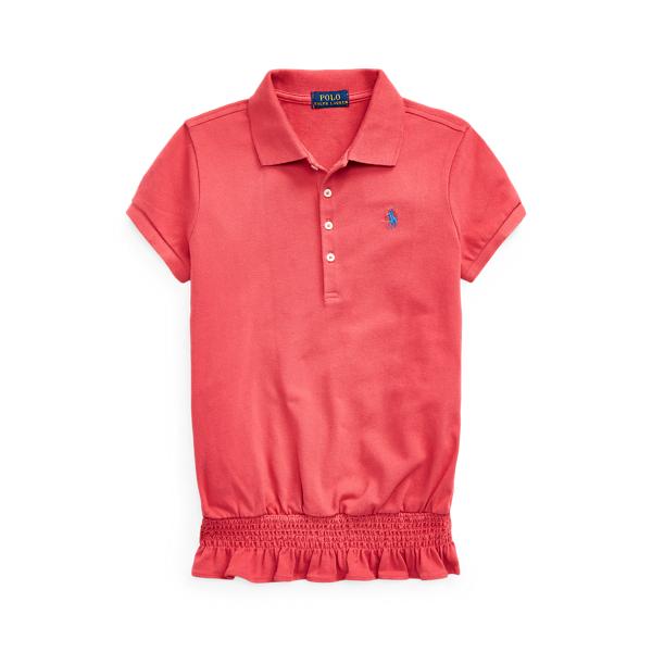 폴로 랄프로렌 걸즈 폴로 셔츠 Polo Ralph Lauren Smocked Stretch Mesh Polo,Nantucket Red