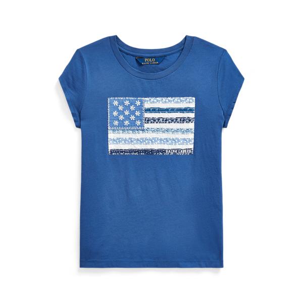 폴로 랄프로렌 Polo Ralph Lauren Floral Flag Cotton Jersey Tee,Federal Blue