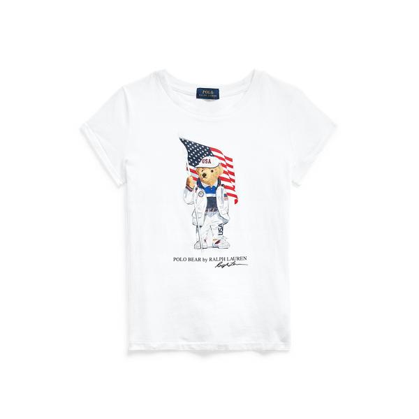 Polo Ralph Lauren Kids' Team Usa Polo Bear Cotton Jersey Tee In White