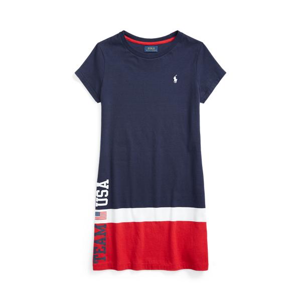 Polo Ralph Lauren Kids' Team Usa Cotton Jersey Tee Dress In Cruise Navy Multi