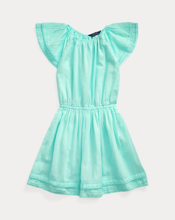 폴로 랄프로렌 Polo Ralph Lauren Pom-Pom Cotton Dress,Bayside Green