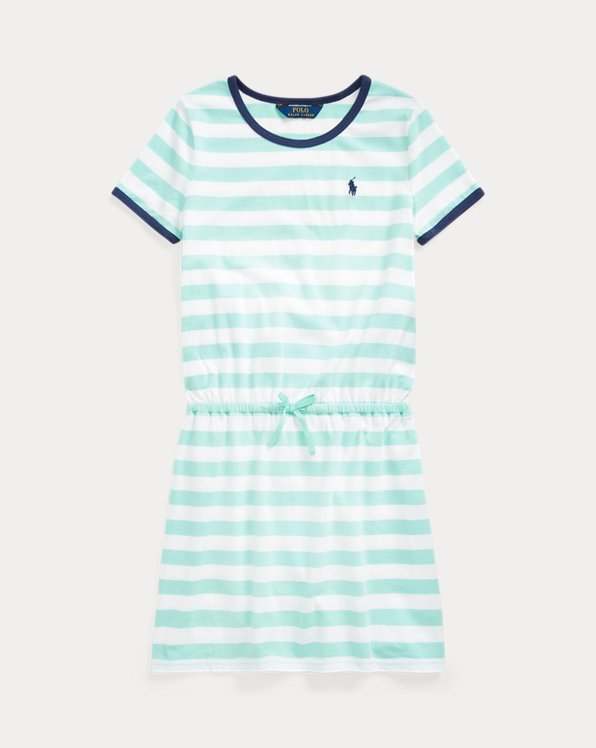 폴로 랄프로렌 Polo Ralph Lauren Striped Jersey Tee Dress,Bayside Green Multi
