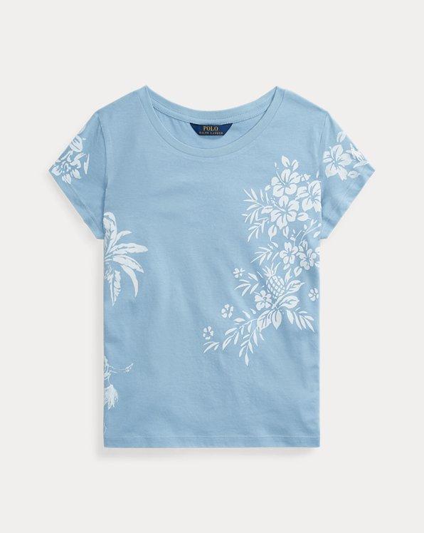 폴로 랄프로렌 Polo Ralph Lauren Hawaiian-Print Jersey Tee,Powder Blue