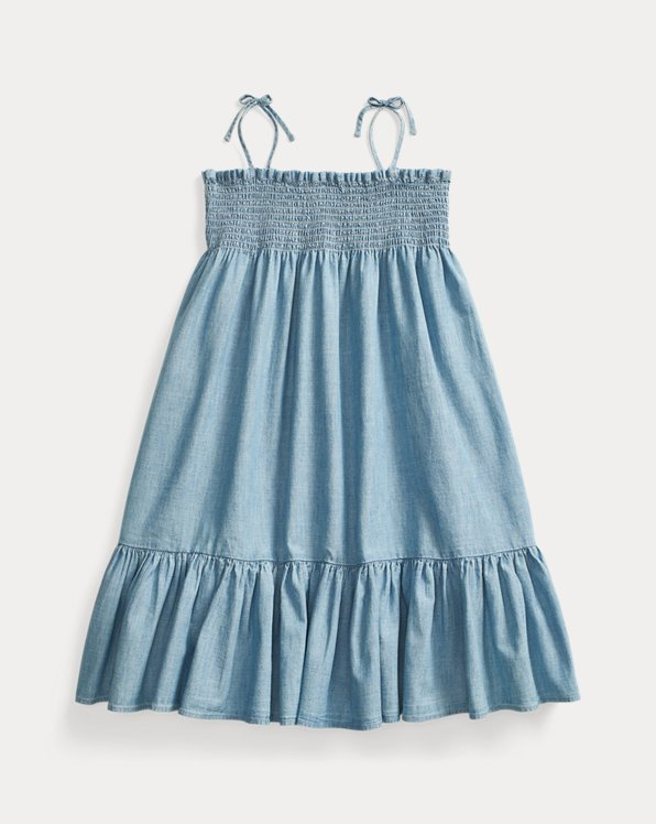 폴로 랄프로렌 Polo Ralph Lauren Smocked Cotton Chambray Dress,Indigo