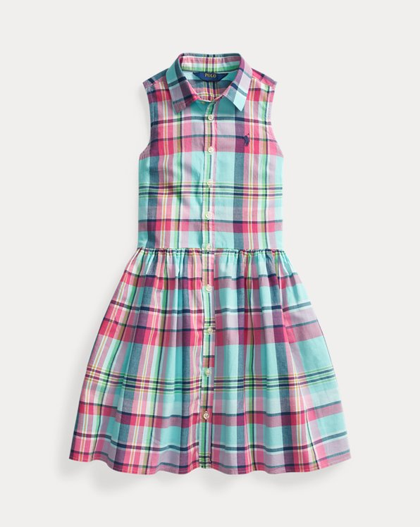 폴로 랄프로렌 Polo Ralph Lauren Plaid Cotton Madras Shirtdress,Seafoam