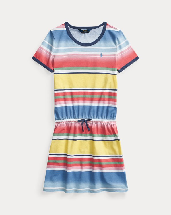 폴로 랄프로렌 Polo Ralph Lauren Striped Cotton Tee Dress,French Blue Multi