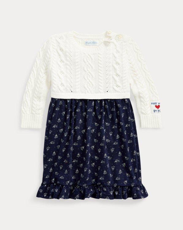 Vestido de punto con falda floral
