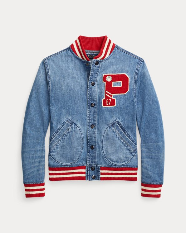 Cotton Denim Baseball Jacket