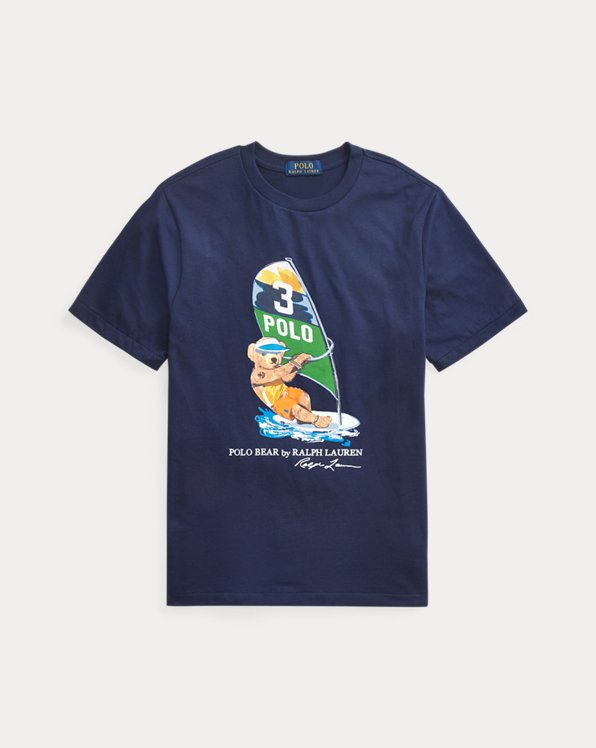 Baumwoll-T-Shirt mit Windsurf Bear
