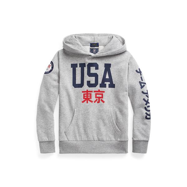 Polo Ralph Lauren Kids' Team Usa Fleece Hoodie In Gray