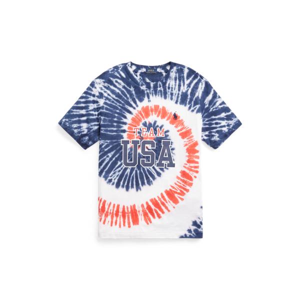 Polo Ralph Lauren Kids' Team Usa Tie-dye Cotton Tee In Tie Dye Blue