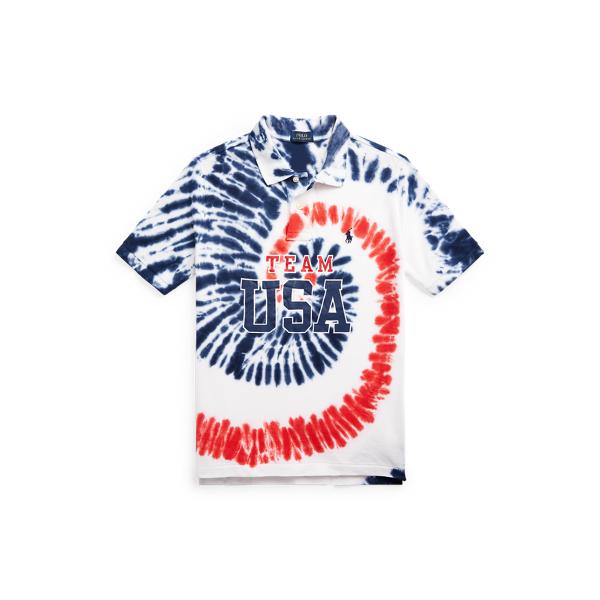 Polo Ralph Lauren Kids' Team Usa Tie-dye Cotton Polo Shirt In Blue Tie Dye