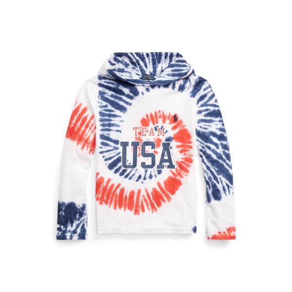 Polo Ralph Lauren Kids' Team Usa Tie-dye Cotton Hooded Tee In Blue
