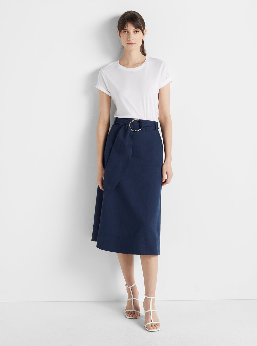 클럽 모나코 스커트 Club Monaco Belted A-Line Skirt,Navy