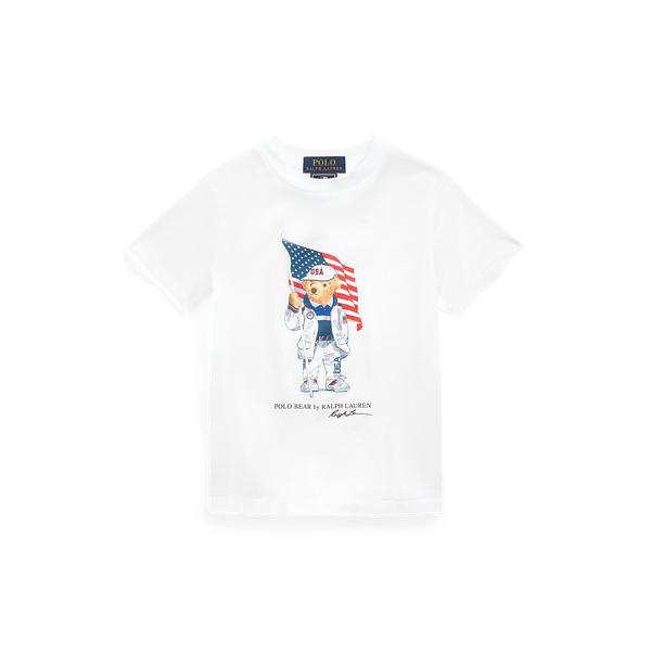 Polo Ralph Lauren Kids' Team Usa Polo Bear Cotton Tee In White