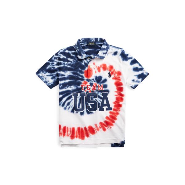 Polo Ralph Lauren Kids' Team Usa Tie-dye Cotton Polo Shirt In Blue