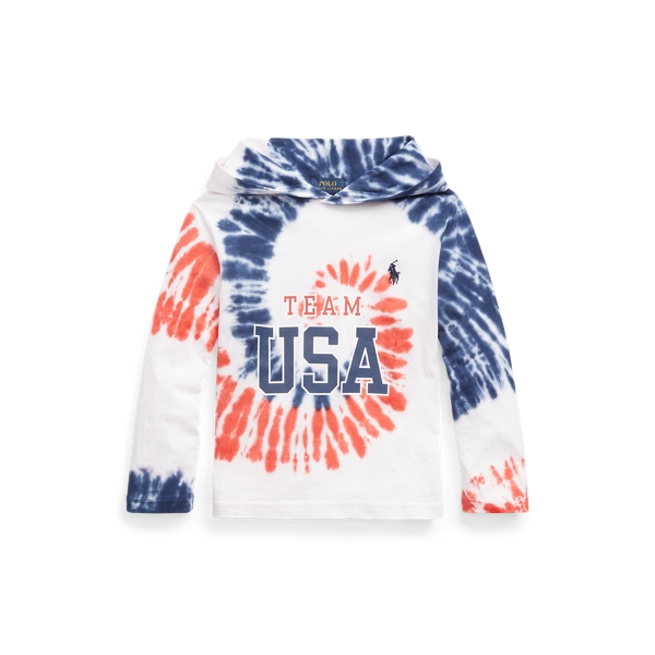 Polo Ralph Lauren Kids' Team Usa Tie-dye Cotton Hooded Tee In Multi