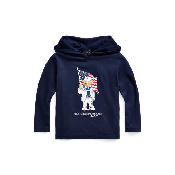 Polo Ralph Lauren Kids' Ecofast Pure Team Usa Polo Bear Tee In Cruise Navy